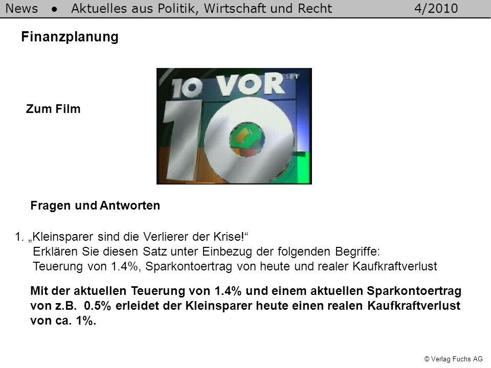 News Aktuelles aus Politik, Wirtschaft und Recht4/2010 © Verlag Fuchs AG Finanzplanung 1. Kleinsparer sind die Verlierer der Krise! Erklären Sie diese