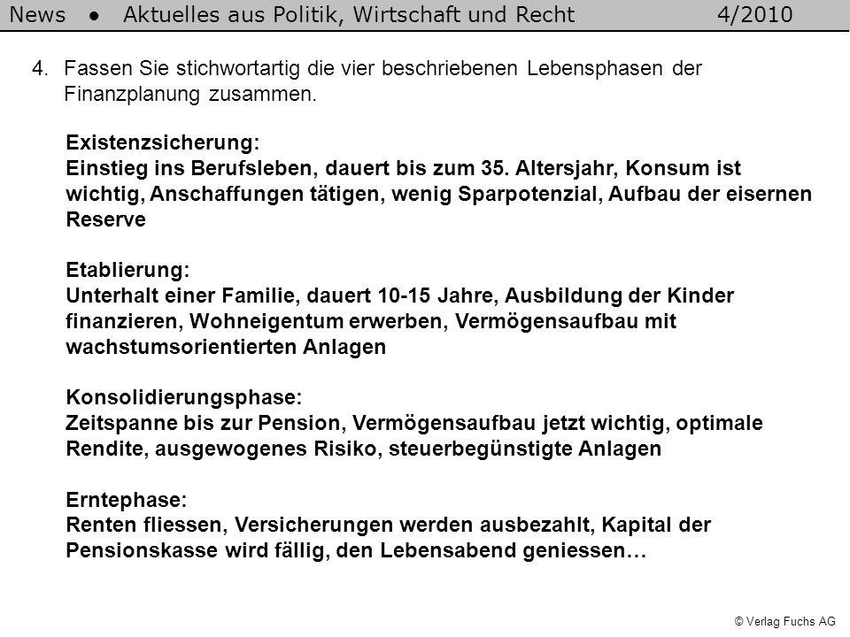 News Aktuelles aus Politik, Wirtschaft und Recht4/2010 © Verlag Fuchs AG 4.Fassen Sie stichwortartig die vier beschriebenen Lebensphasen der Finanzpla