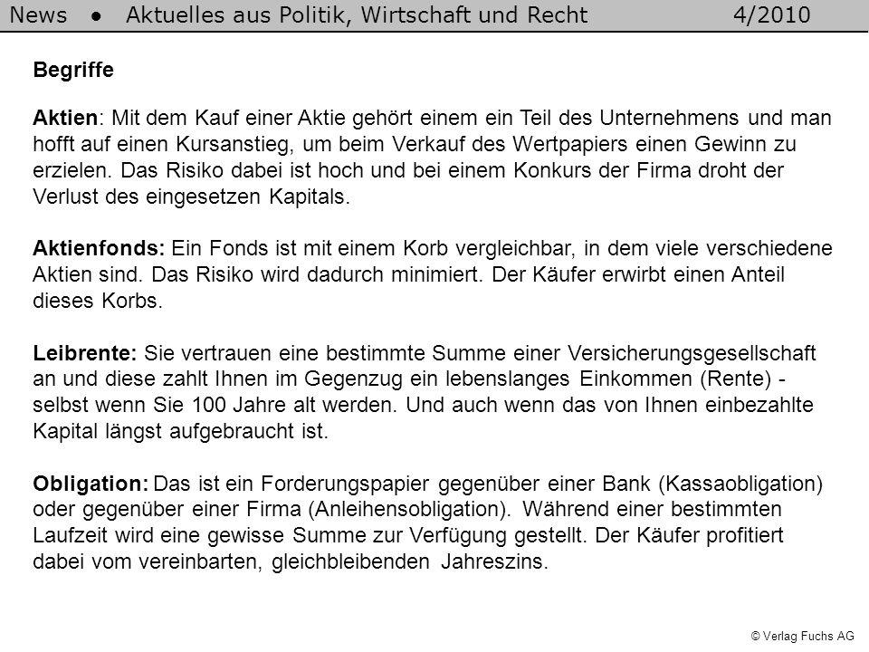 News Aktuelles aus Politik, Wirtschaft und Recht4/2010 © Verlag Fuchs AG Begriffe Aktien: Mit dem Kauf einer Aktie gehört einem ein Teil des Unternehm