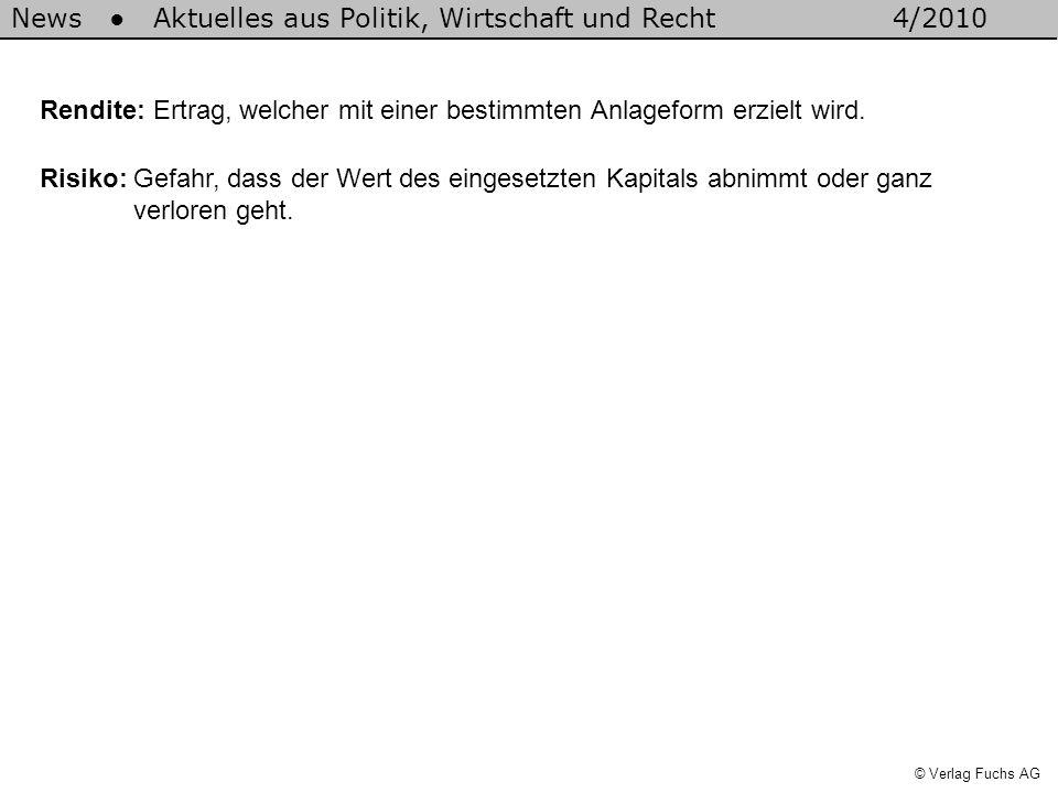 News Aktuelles aus Politik, Wirtschaft und Recht4/2010 © Verlag Fuchs AG Rendite: Ertrag, welcher mit einer bestimmten Anlageform erzielt wird. Risiko