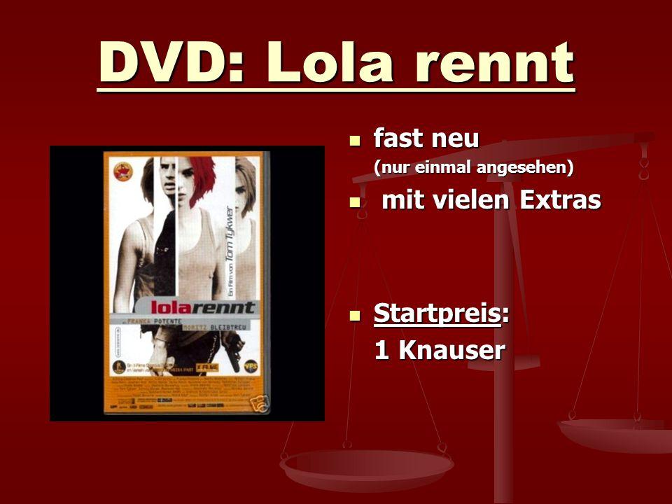 DVD: Lola rennt fast neu (nur einmal angesehen) mit vielen Extras Startpreis: 1 Knauser