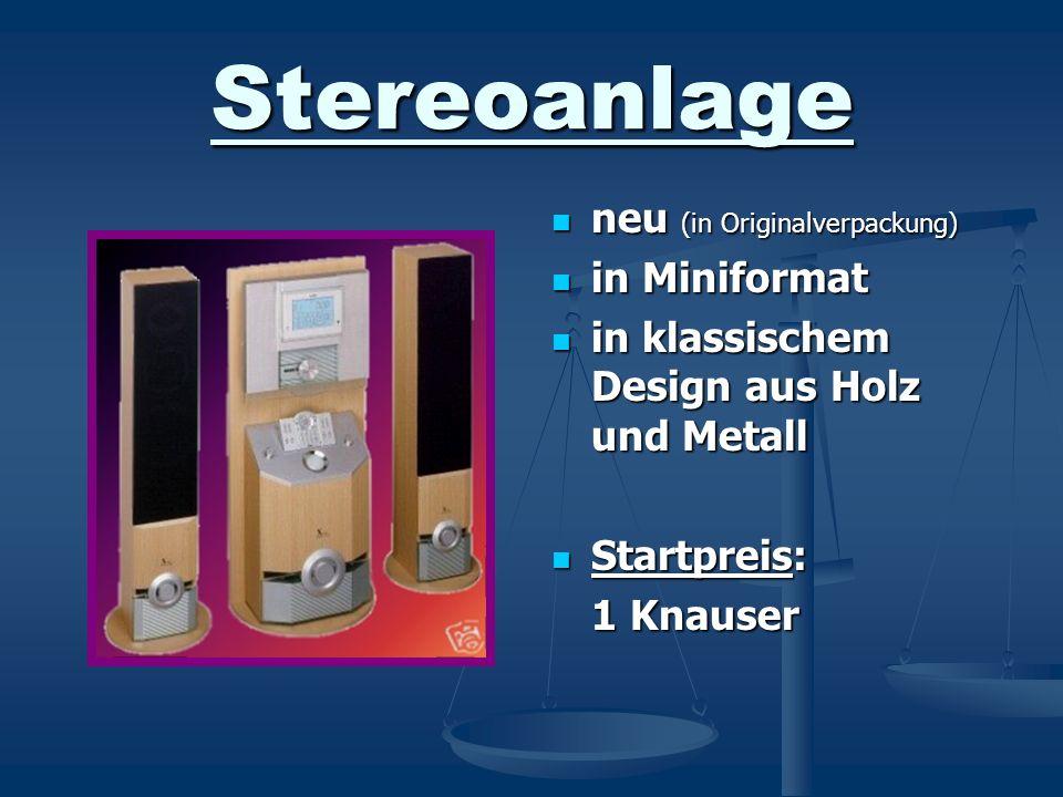 Stereoanlage neu (in Originalverpackung) in Miniformat in klassischem Design aus Holz und Metall Startpreis: 1 Knauser