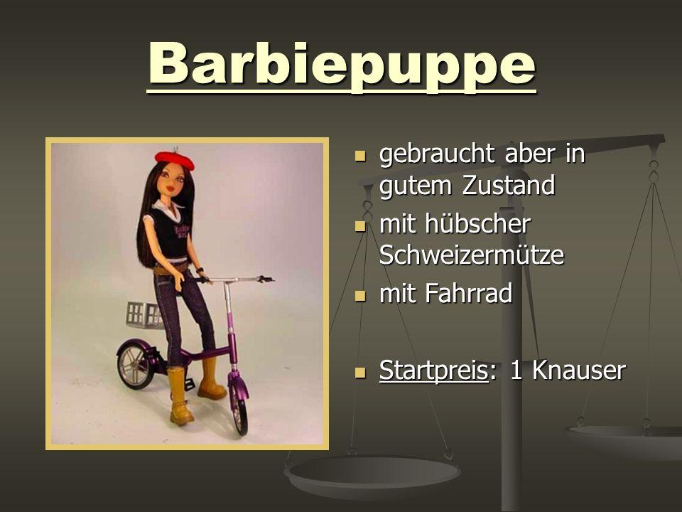 Barbiepuppe gebraucht aber in gutem Zustand mit hübscher Schweizermütze mit Fahrrad Startpreis: 1 Knauser