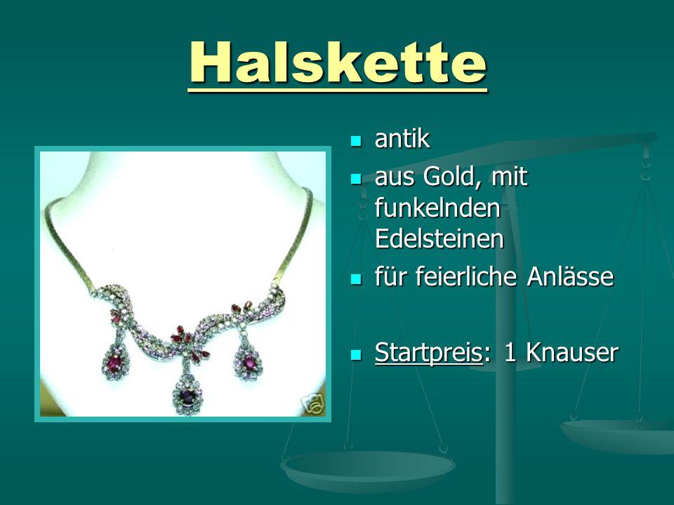 Halskette antik aus Gold, mit funkelnden Edelsteinen für feierliche Anlässe Startpreis: 1 Knauser