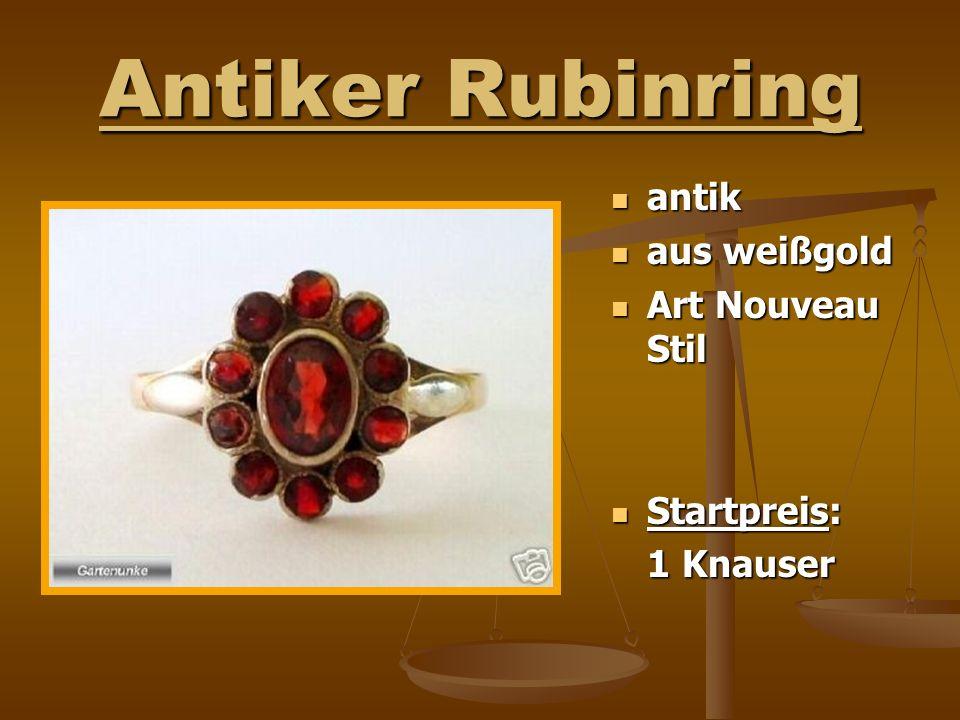 Antiker Rubinring antik aus weißgold Art Nouveau Stil Startpreis: 1 Knauser