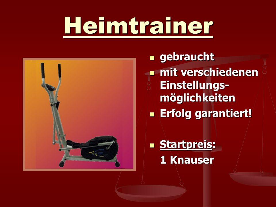Heimtrainer gebraucht mit verschiedenen Einstellungs- möglichkeiten Erfolg garantiert! Startpreis: 1 Knauser