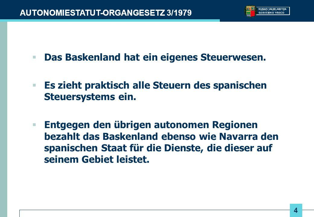 4 AUTONOMIESTATUT-ORGANGESETZ 3/1979 Das Baskenland hat ein eigenes Steuerwesen. Es zieht praktisch alle Steuern des spanischen Steuersystems ein. Ent