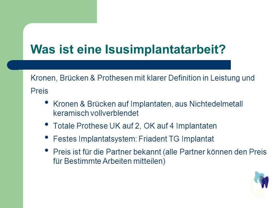 Was ist eine Isusimplantatarbeit? Kronen, Brücken & Prothesen mit klarer Definition in Leistung und Preis Kronen & Brücken auf Implantaten, aus Nichte