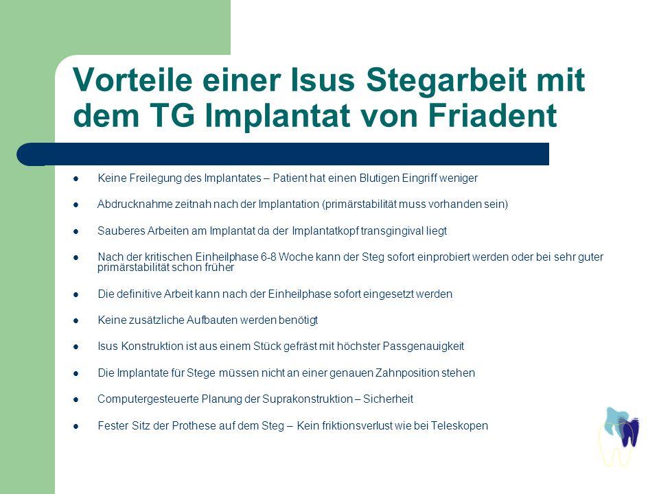 Vorteile einer Isus Stegarbeit mit dem TG Implantat von Friadent Keine Freilegung des Implantates – Patient hat einen Blutigen Eingriff weniger Abdruc
