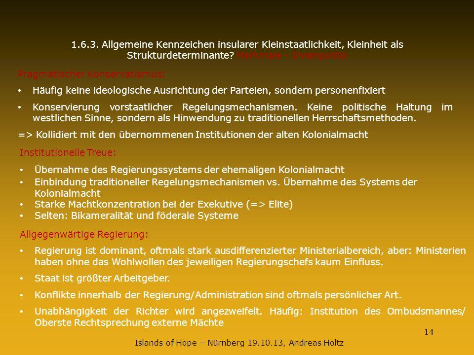14 1.6.3. Allgemeine Kennzeichen insularer Kleinstaatlichkeit, Kleinheit als Strukturdeterminante? Merkmale - Innenpolitik Pragmatischer Konservatismu