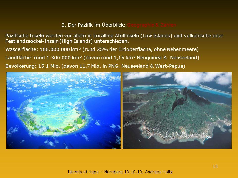 18 2. Der Pazifik im Überblick: Geographie & Zahlen Pazifische Inseln werden vor allem in koralline Atollinseln (Low Islands) und vulkanische oder Fes