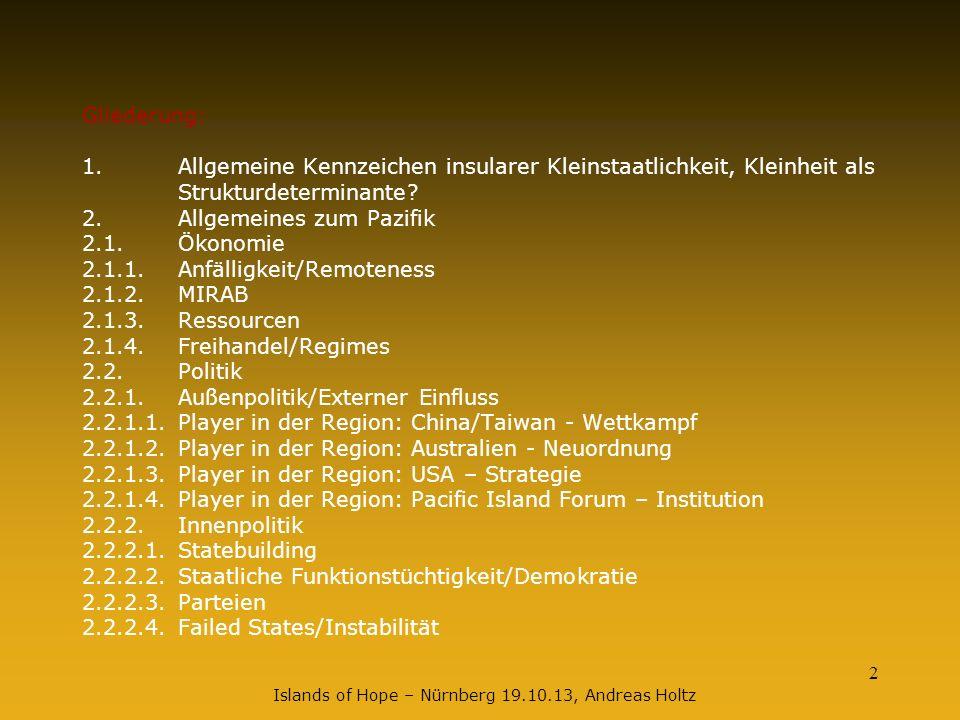 2 Islands of Hope – Nürnberg 19.10.13, Andreas Holtz Gliederung: 1. Allgemeine Kennzeichen insularer Kleinstaatlichkeit, Kleinheit als Strukturdetermi
