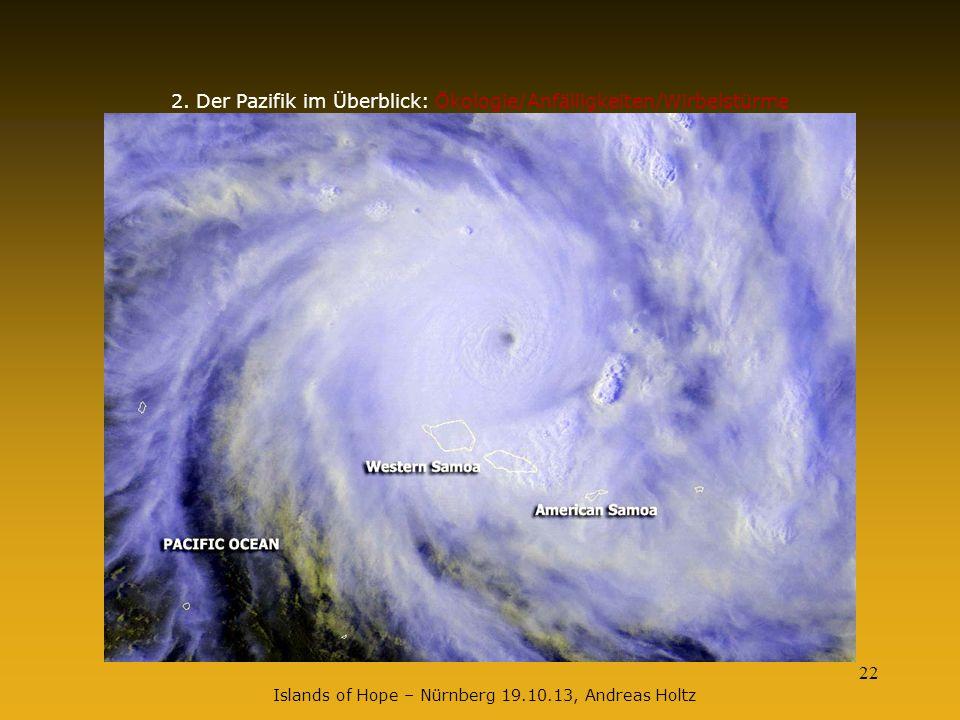 22 2. Der Pazifik im Überblick: Ökologie/Anfälligkeiten/Wirbelstürme Islands of Hope – Nürnberg 19.10.13, Andreas Holtz