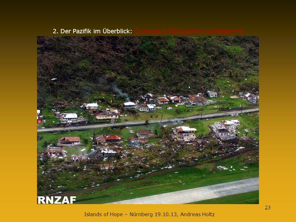 23 2. Der Pazifik im Überblick: Ökologie/Anfälligkeiten/Wirbelstürme Islands of Hope – Nürnberg 19.10.13, Andreas Holtz
