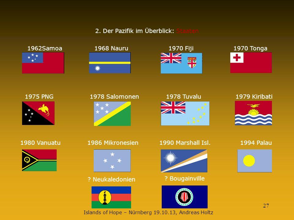 27 2. Der Pazifik im Überblick: Staaten 1962Samoa1968 Nauru1970 Fiji1970 Tonga 1975 PNG1978 Salomonen1978 Tuvalu1979 Kiribati 1980 Vanuatu1986 Mikrone