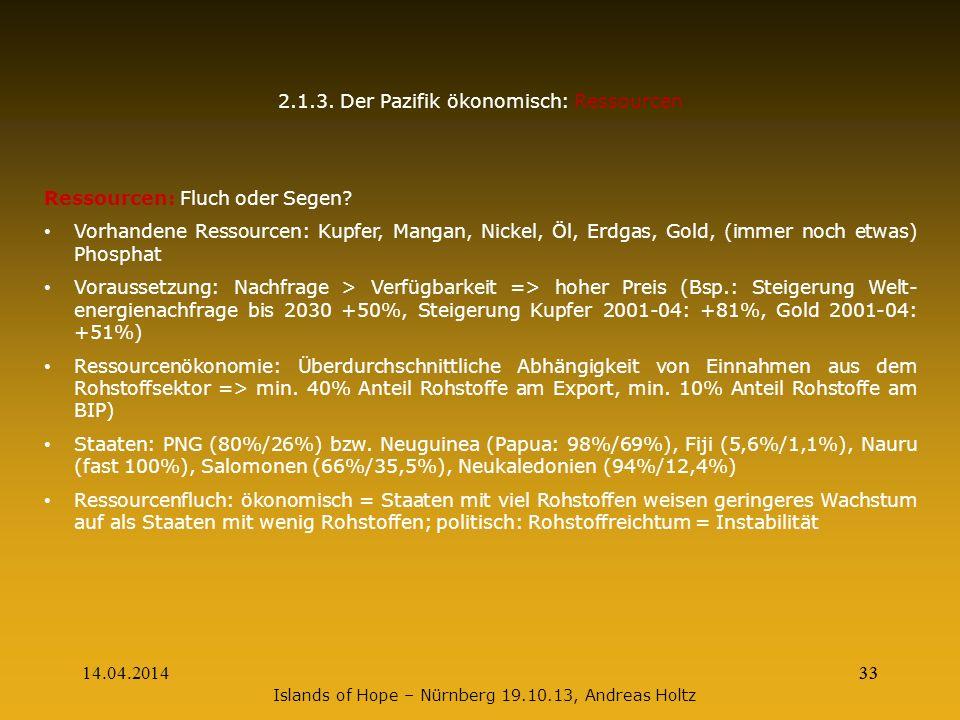 14.04.201433 2.1.3. Der Pazifik ökonomisch: Ressourcen Ressourcen: Fluch oder Segen? Vorhandene Ressourcen: Kupfer, Mangan, Nickel, Öl, Erdgas, Gold,