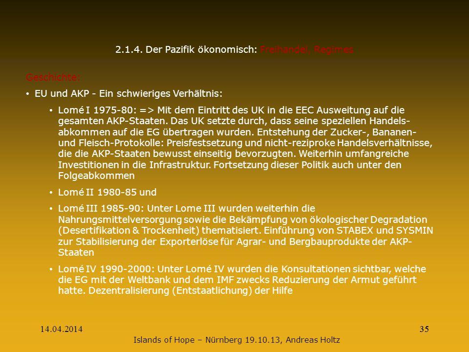 14.04.201435 Islands of Hope – Nürnberg 19.10.13, Andreas Holtz 2.1.4. Der Pazifik ökonomisch: Freihandel, Regimes Geschichte: EU und AKP - Ein schwie