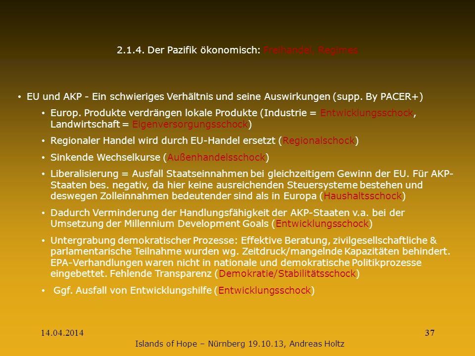 14.04.201437 2.1.4. Der Pazifik ökonomisch: Freihandel, Regimes EU und AKP - Ein schwieriges Verhältnis und seine Auswirkungen (supp. By PACER+) Europ