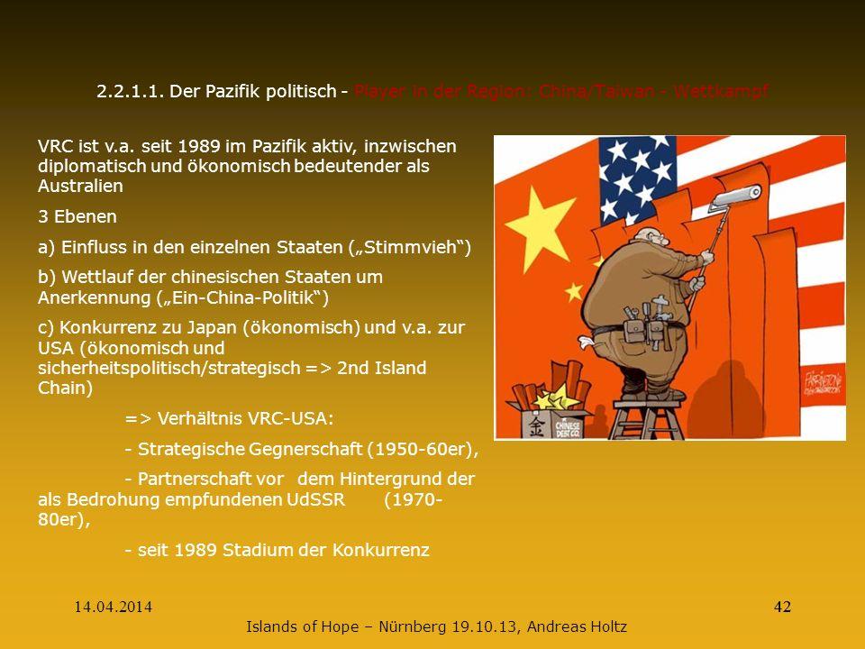 14.04.201442 2.2.1.1. Der Pazifik politisch - Player in der Region: China/Taiwan - Wettkampf VRC ist v.a. seit 1989 im Pazifik aktiv, inzwischen diplo