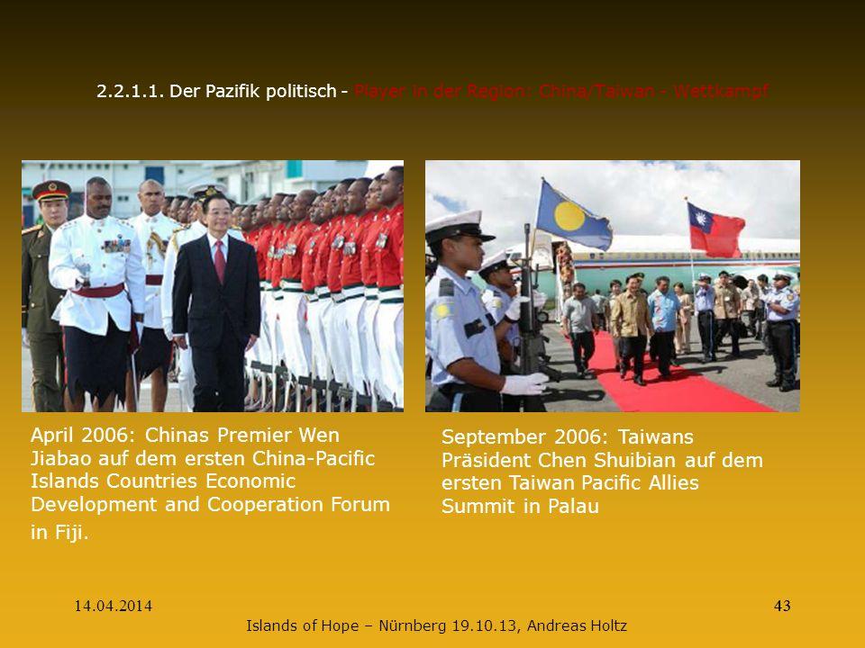 14.04.201443 2.2.1.1. Der Pazifik politisch - Player in der Region: China/Taiwan - Wettkampf April 2006: Chinas Premier Wen Jiabao auf dem ersten Chin