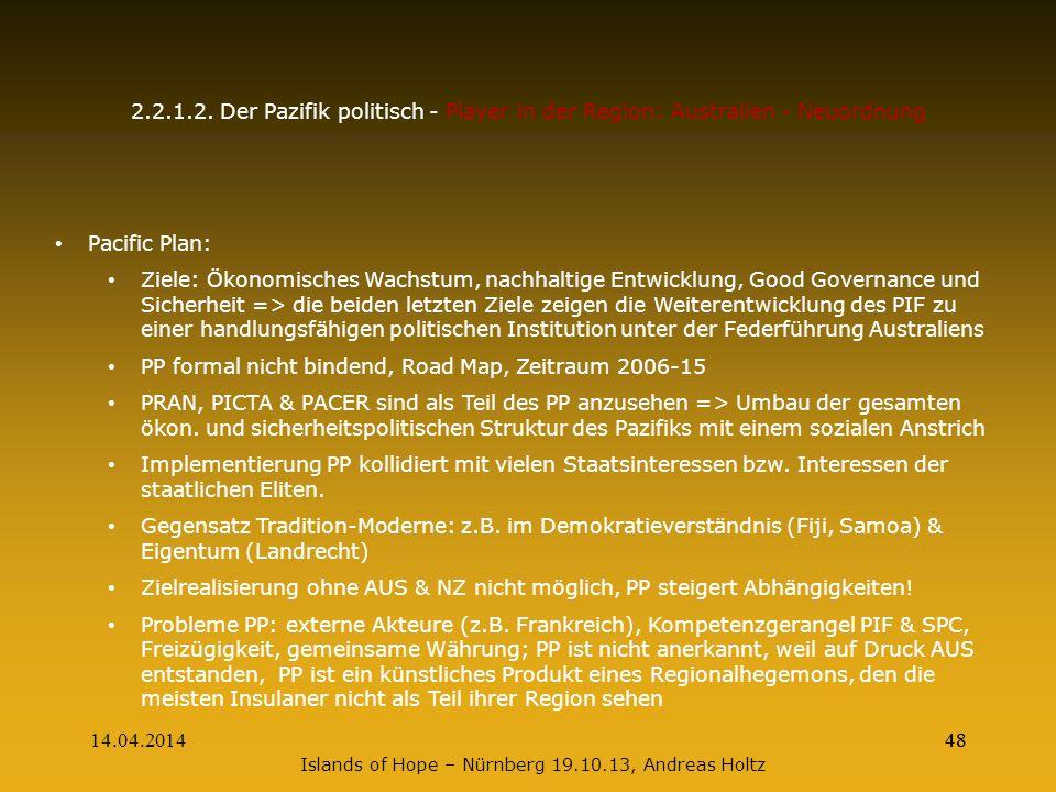 14.04.201448 2.2.1.2. Der Pazifik politisch - Player in der Region: Australien - Neuordnung Pacific Plan: Ziele: Ökonomisches Wachstum, nachhaltige En