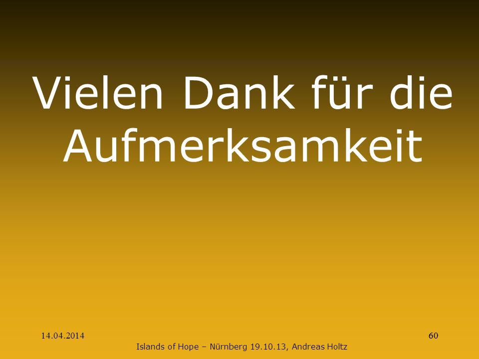 14.04.201460 Vielen Dank für die Aufmerksamkeit Islands of Hope – Nürnberg 19.10.13, Andreas Holtz 60
