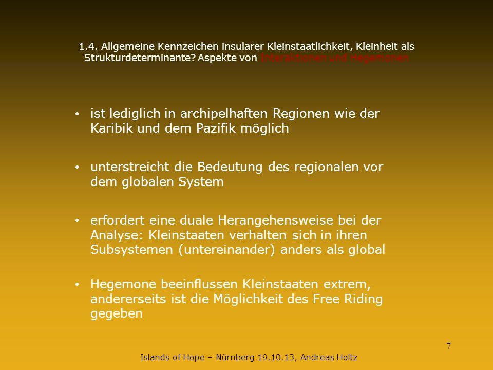 7 Islands of Hope – Nürnberg 19.10.13, Andreas Holtz 1.4. Allgemeine Kennzeichen insularer Kleinstaatlichkeit, Kleinheit als Strukturdeterminante? Asp