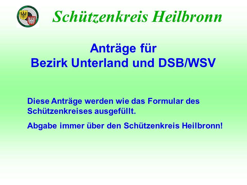 Schützenkreis Heilbronn Anträge für Bezirk Unterland und DSB/WSV Diese Anträge werden wie das Formular des Schützenkreises ausgefüllt. Abgabe immer üb