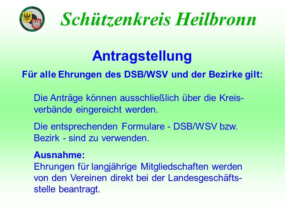 Antragstellung Für alle Ehrungen des DSB/WSV und der Bezirke gilt: Schützenkreis Heilbronn Die Anträge können ausschließlich über die Kreis- verbände