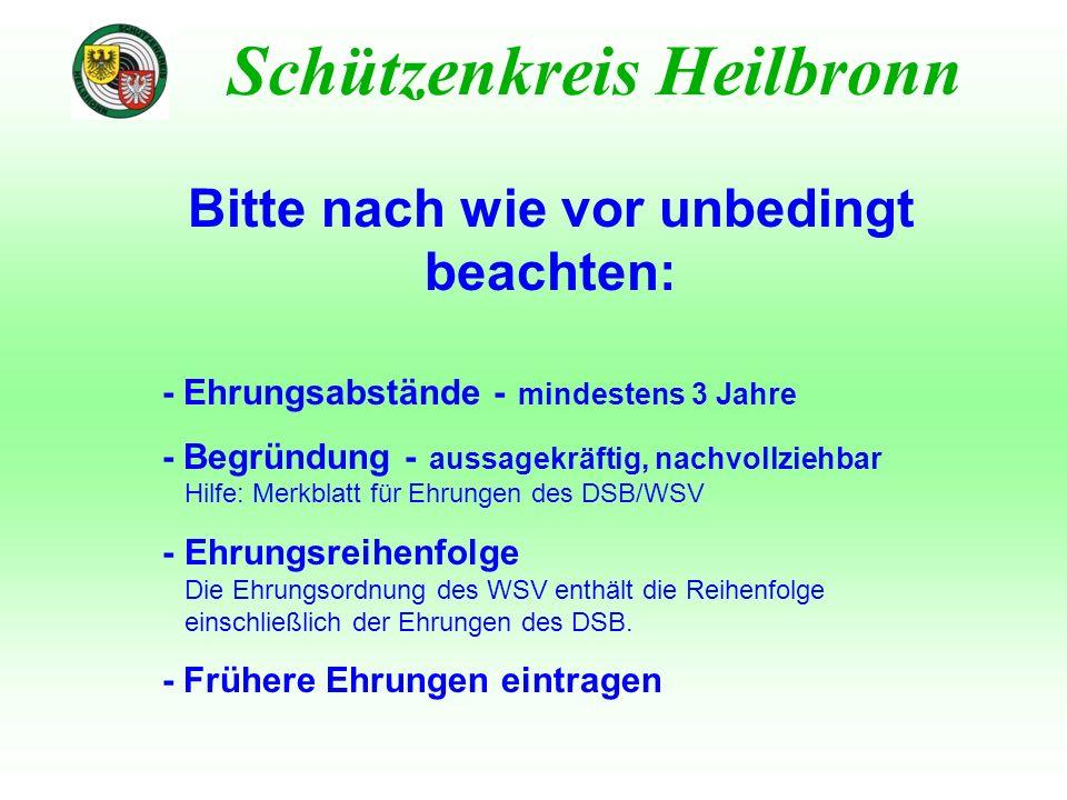 Ehrungen des Schützenkreises Heilbronn Schützenkreis Heilbronn Verleihung beim Kreisschützentag Voraussetzung: ehrenamtliche Tätigkeit von 8 / 12 / 16 / 20 Jahren in einem Vereinsamt 1.Kreisehrenzeichen mit kleinem Silberrand 2.