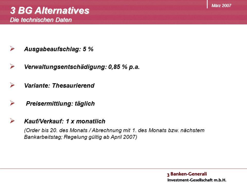 März 2007 Ausgabeaufschlag: 5 % Ausgabeaufschlag: 5 % Verwaltungsentschädigung: 0,85 % p.a. Verwaltungsentschädigung: 0,85 % p.a. Variante: Thesaurier