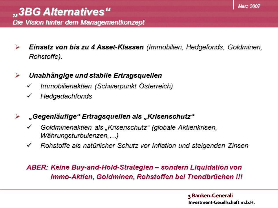 März 2007 Einsatz von bis zu 4 Asset-Klassen (Immobilien, Hedgefonds, Goldminen, Rohstoffe).
