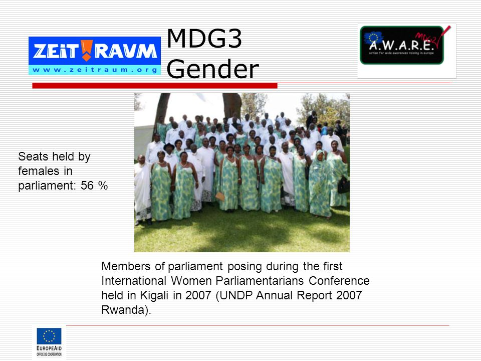 MDG3 Gender Members of parliament posing during the first International Women Parliamentarians Conference held in Kigali in 2007 (UNDP Annual Report 2