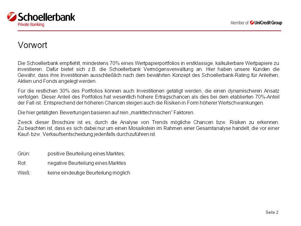 Seite 2 Vorwort Die Schoellerbank empfiehlt, mindestens 70% eines Wertpapierportfolios in erstklassige, kalkulierbare Wertpapiere zu investieren. Dafü