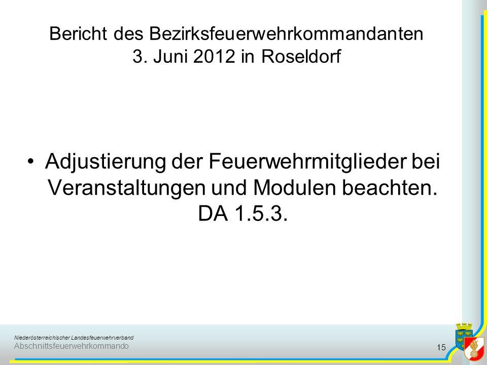 Niederösterreichischer Landesfeuerwehrverband Abschnittsfeuerwehrkommando Bericht des Bezirksfeuerwehrkommandanten 3. Juni 2012 in Roseldorf Adjustier