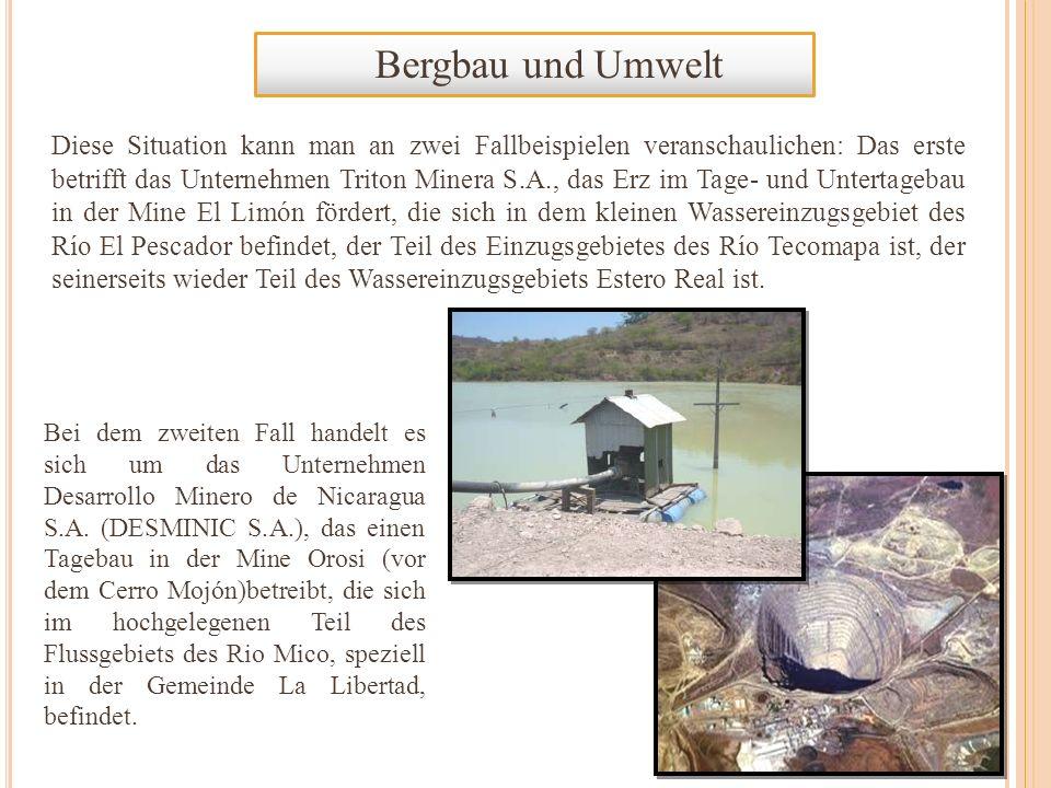 Bergbau und Umwelt Diese Situation kann man an zwei Fallbeispielen veranschaulichen: Das erste betrifft das Unternehmen Triton Minera S.A., das Erz im