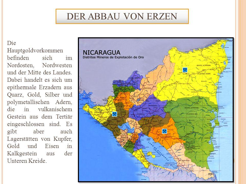 Die Hauptgoldvorkommen befinden sich im Nordosten, Nordwesten und der Mitte des Landes. Dabei handelt es sich um epithermale Erzadern aus Quarz, Gold,
