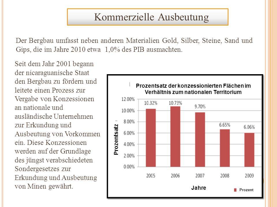 Kommerzielle Ausbeutung Im Jahre 2010 erfuhr die Produktion an Troy-Unzen* Gold einen Anstieg von 88% und von Silber 56%, was Devisen von 226,67 Millionen US-Dollar einbrachte.