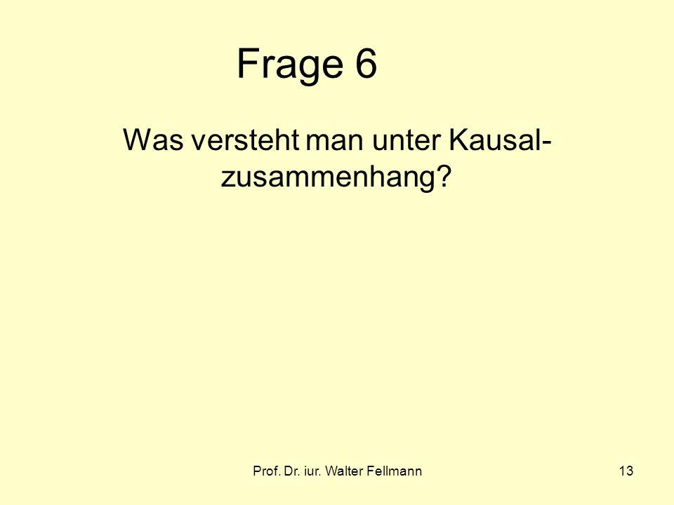 Prof. Dr. iur. Walter Fellmann13 Frage 6 Was versteht man unter Kausal- zusammenhang?