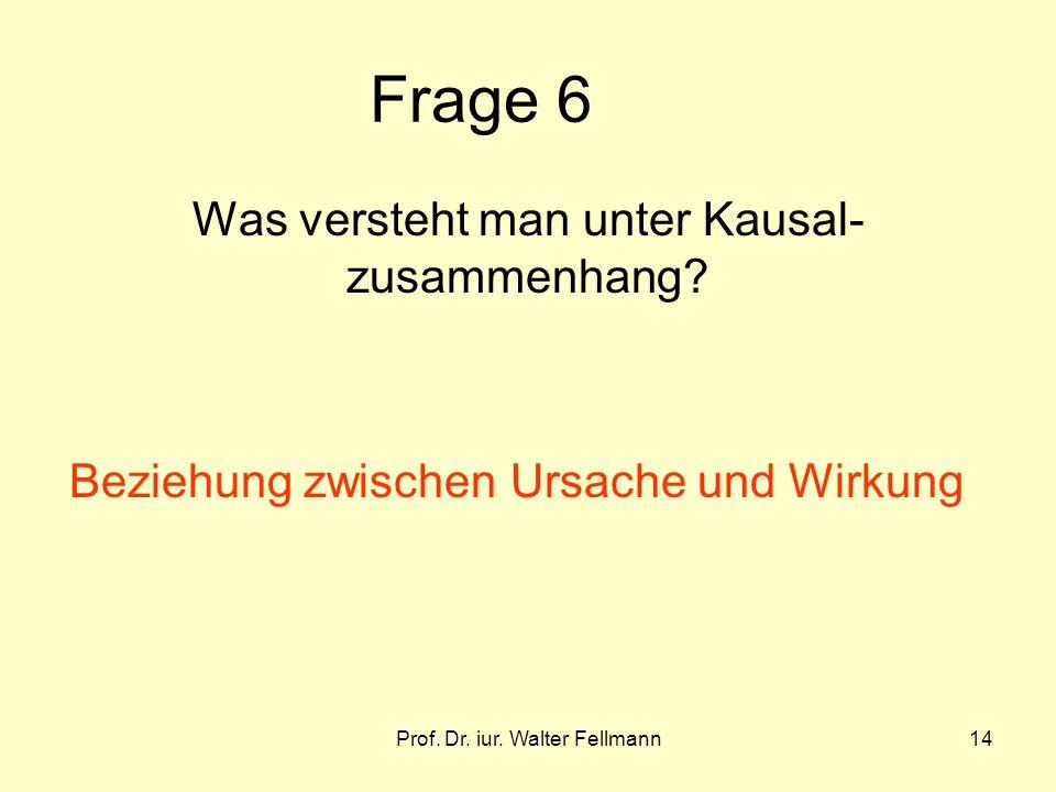 Prof. Dr. iur. Walter Fellmann14 Frage 6 Was versteht man unter Kausal- zusammenhang? Beziehung zwischen Ursache und Wirkung