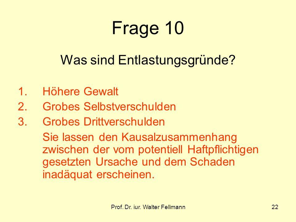 Prof. Dr. iur. Walter Fellmann22 Frage 10 Was sind Entlastungsgründe? 1.Höhere Gewalt 2.Grobes Selbstverschulden 3.Grobes Drittverschulden Sie lassen