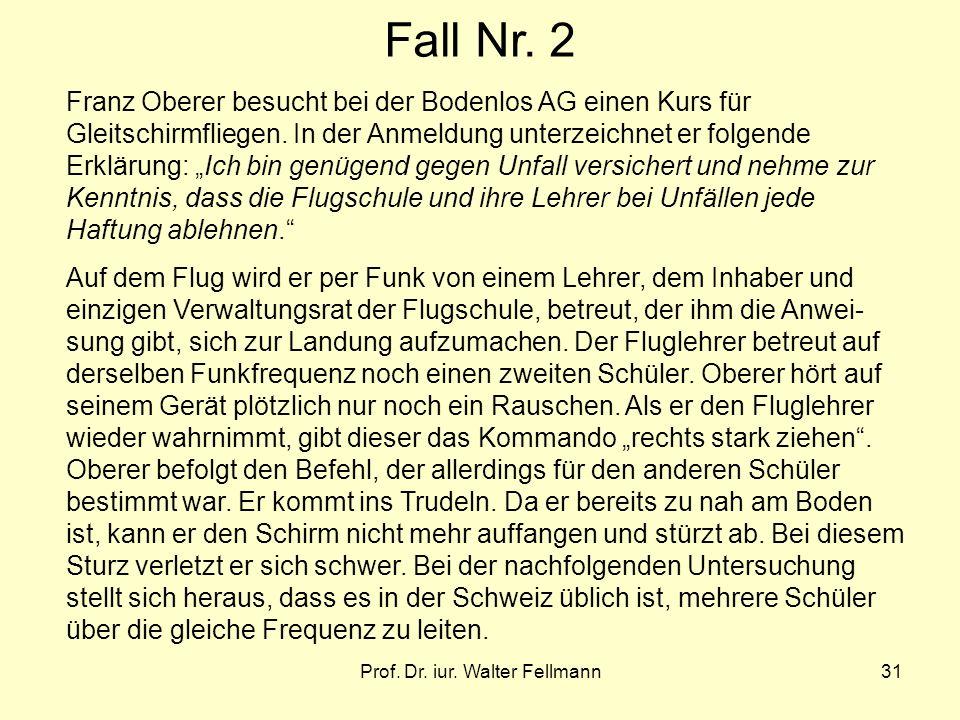 Prof. Dr. iur. Walter Fellmann31 Fall Nr. 2 Franz Oberer besucht bei der Bodenlos AG einen Kurs für Gleitschirmfliegen. In der Anmeldung unterzeichnet