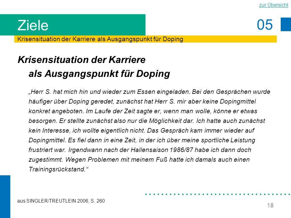 05 zur Übersicht 18 Ziele Krisensituation der Karriere als Ausgangspunkt für Doping Herr S. hat mich hin und wieder zum Essen eingeladen. Bei den Gesp
