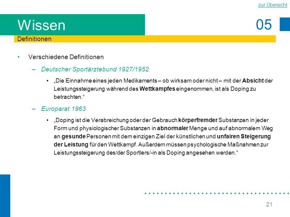 05 zur Übersicht 21 Wissen Verschiedene Definitionen –Deutscher Sportärztebund 1927/1952 Die Einnahme eines jeden Medikaments – ob wirksam oder nicht