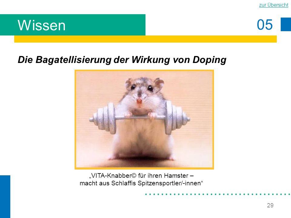 05 zur Übersicht 29 Wissen Die Bagatellisierung der Wirkung von Doping VITA-Knabber© für ihren Hamster – macht aus Schlaffis Spitzensportler/-innen