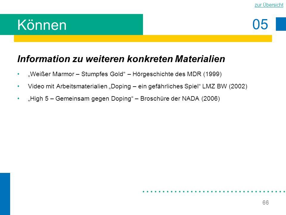 05 zur Übersicht 66 Können Information zu weiteren konkreten Materialien Weißer Marmor – Stumpfes Gold – Hörgeschichte des MDR (1999) Video mit Arbeit