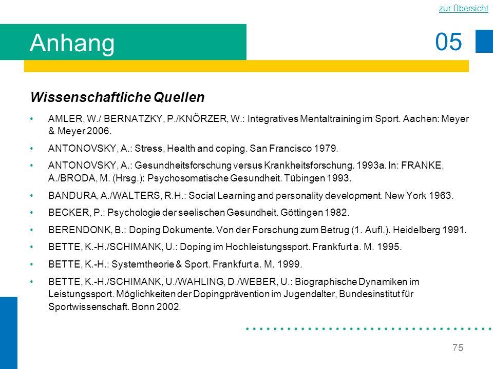 05 zur Übersicht 75 Anhang Wissenschaftliche Quellen AMLER, W./ BERNATZKY, P./KNÖRZER, W.: Integratives Mentaltraining im Sport. Aachen: Meyer & Meyer
