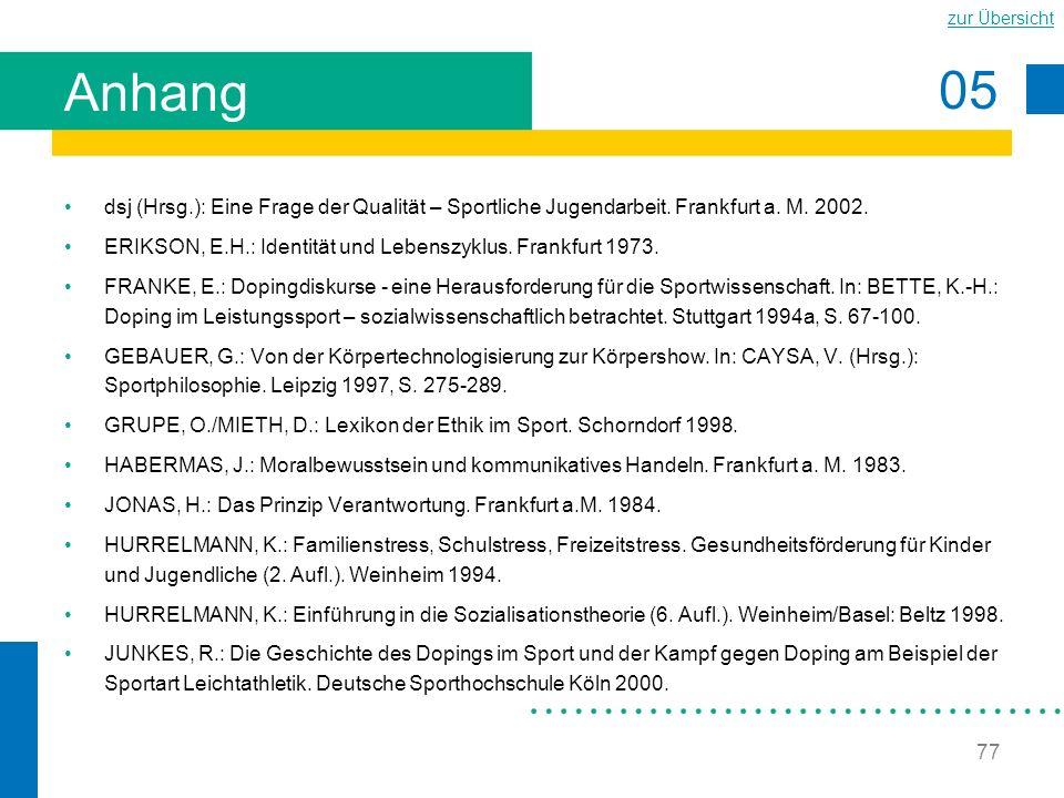 05 zur Übersicht 77 Anhang dsj (Hrsg.): Eine Frage der Qualität – Sportliche Jugendarbeit. Frankfurt a. M. 2002. ERIKSON, E.H.: Identität und Lebenszy