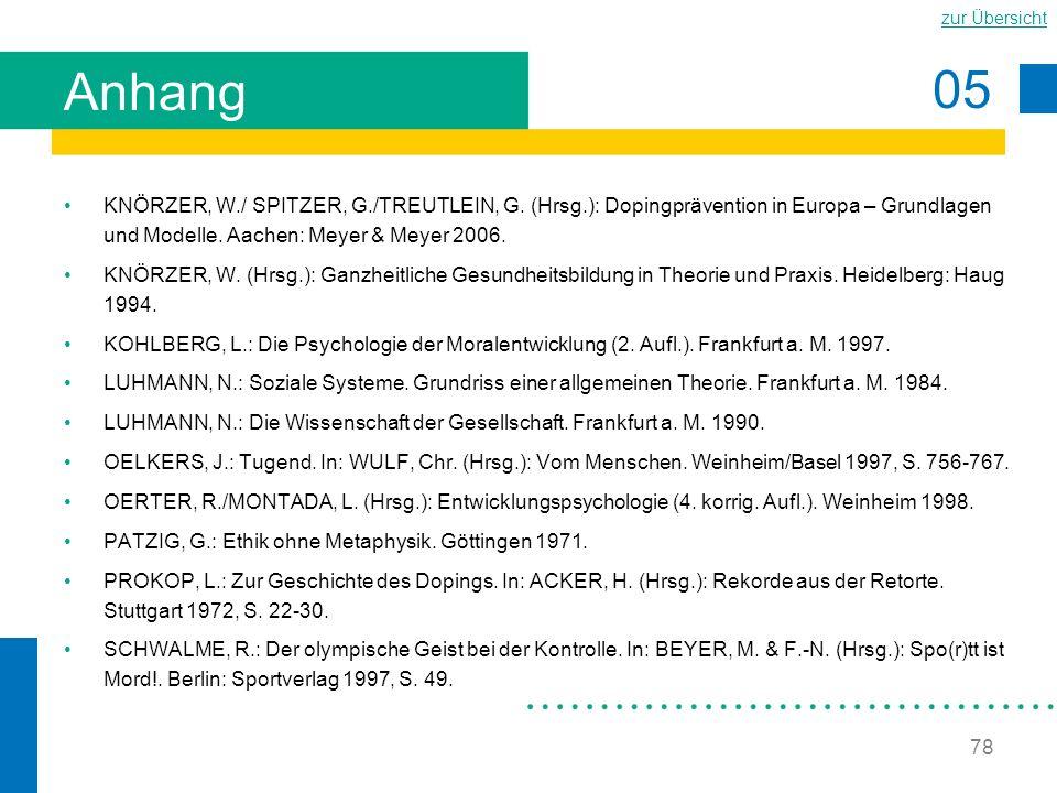 05 zur Übersicht 78 Anhang KNÖRZER, W./ SPITZER, G./TREUTLEIN, G. (Hrsg.): Dopingprävention in Europa – Grundlagen und Modelle. Aachen: Meyer & Meyer