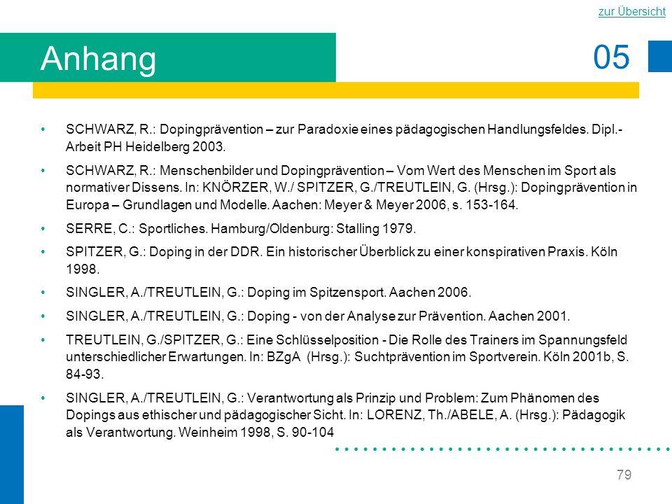 05 zur Übersicht 79 Anhang SCHWARZ, R.: Dopingprävention – zur Paradoxie eines pädagogischen Handlungsfeldes. Dipl.- Arbeit PH Heidelberg 2003. SCHWAR